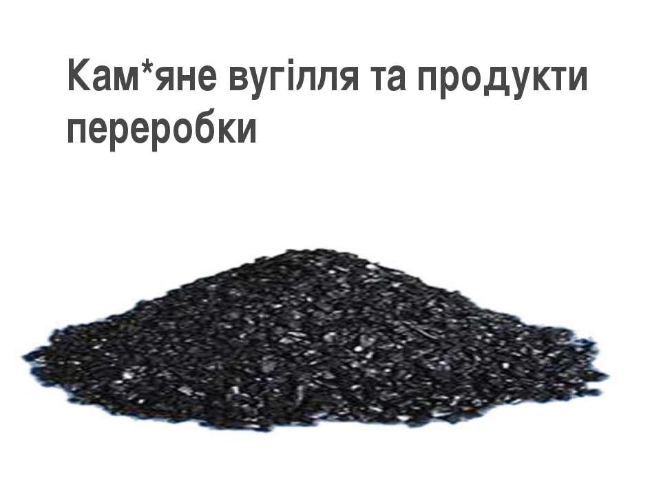 Кам*яне вугілля та продукти переробки