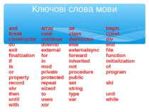 Ключові слова мови and array as begin break case class const constructor cont...