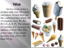 Value An ice-cream as has a product milk over 100 useful substances. In him t...