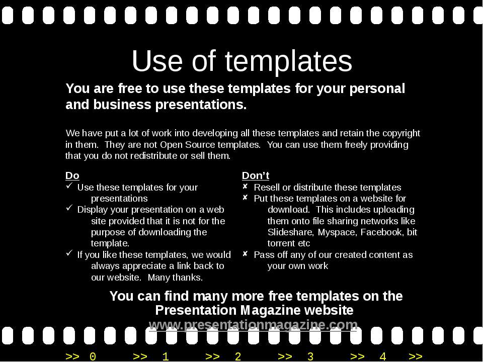 Use of templates You are free to use these templates for your personal and bu...
