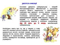ДЖЕРЕЛА ІНФЕКЦІЇ Основне джерело туберкульозу - хворий бактеріовиділювач. Мік...