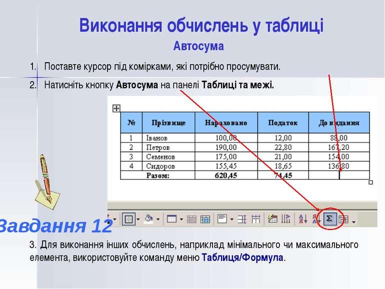 Виконання обчислень у таблиці Поставте курсор під комірками, які потрібно про...