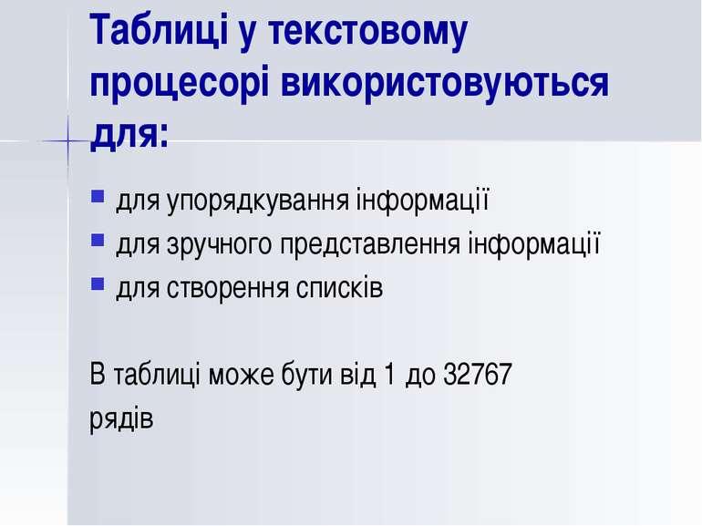 Таблиці у текстовому процесорі використовуються для: для упорядкування інформ...