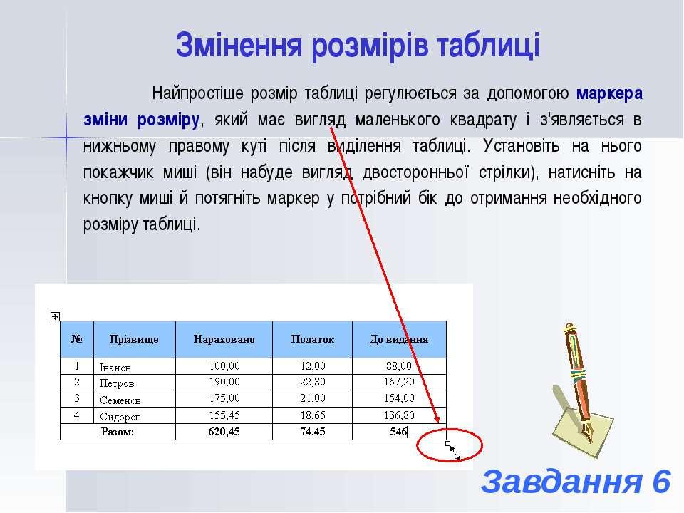 Змінення розмірів таблиці Найпростіше розмір таблиці регулюється за допомогою...