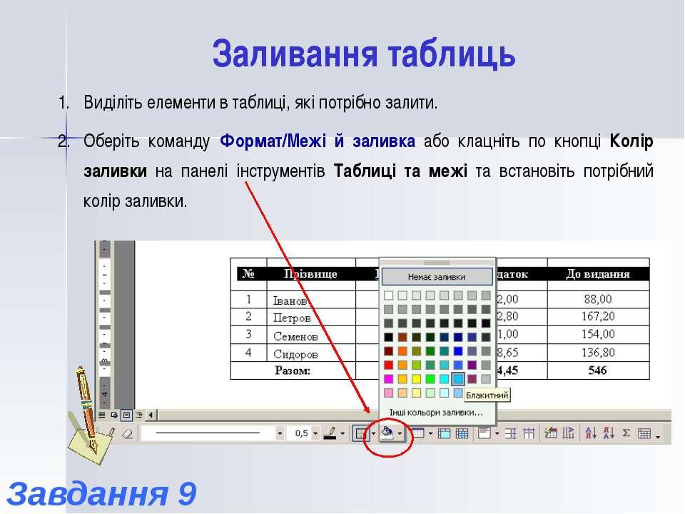 Заливання таблиць Виділіть елементи в таблиці, які потрібно залити. Оберіть к...