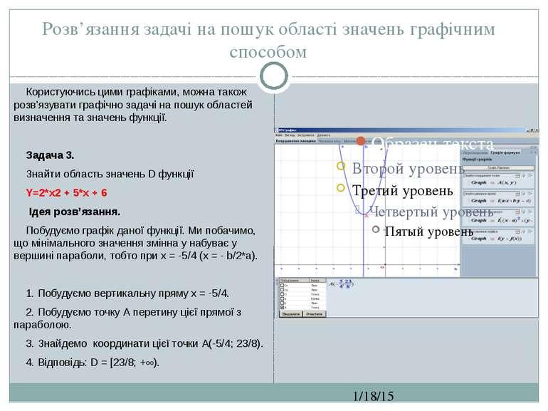 Розв'язання задачі на пошук області значень графічним способом СЗОШ № 8 м.Хме...