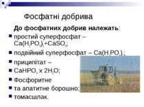 Фосфатні добрива До фосфатних добрив належать: простий суперфосфат – Ca(H2PO4...