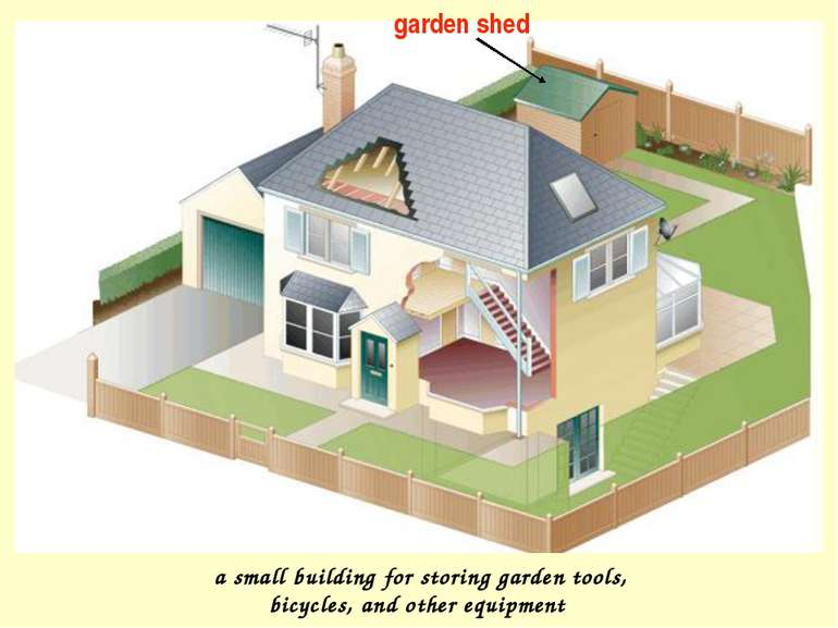 garden shed a small building for storing garden tools, bicycles, and other eq...
