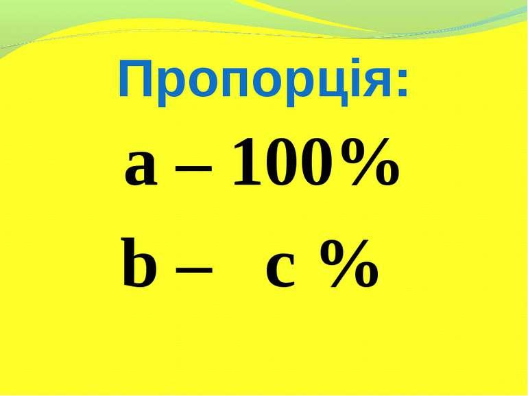 Пропорція: a – 100% b – c %