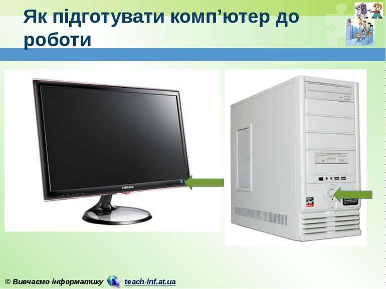 Як підготувати комп'ютер до роботи © Вивчаємо інформатику teach-inf.at.ua Скл...