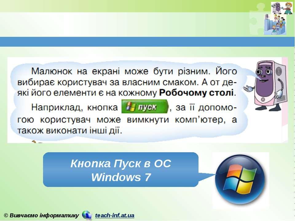 Кнопка Пуск в ОС Windows 7 © Вивчаємо інформатику teach-inf.at.ua