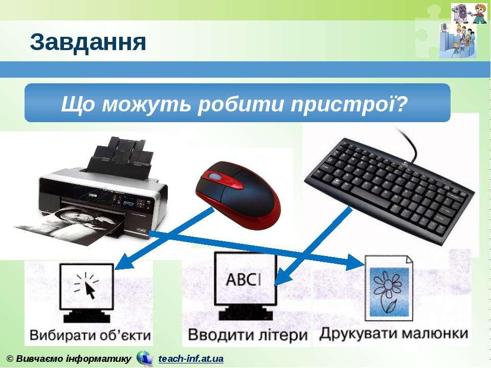 Завдання Що можуть робити пристрої? © Вивчаємо інформатику teach-inf.at.ua