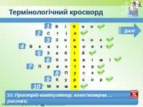 Термінологічний кросворд 1 2 3 1. Прямокутна область на екрані для відображен...
