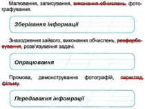 Зберігання інформації Опрацювання Передавання інфомрації © Вивчаємо інформати...