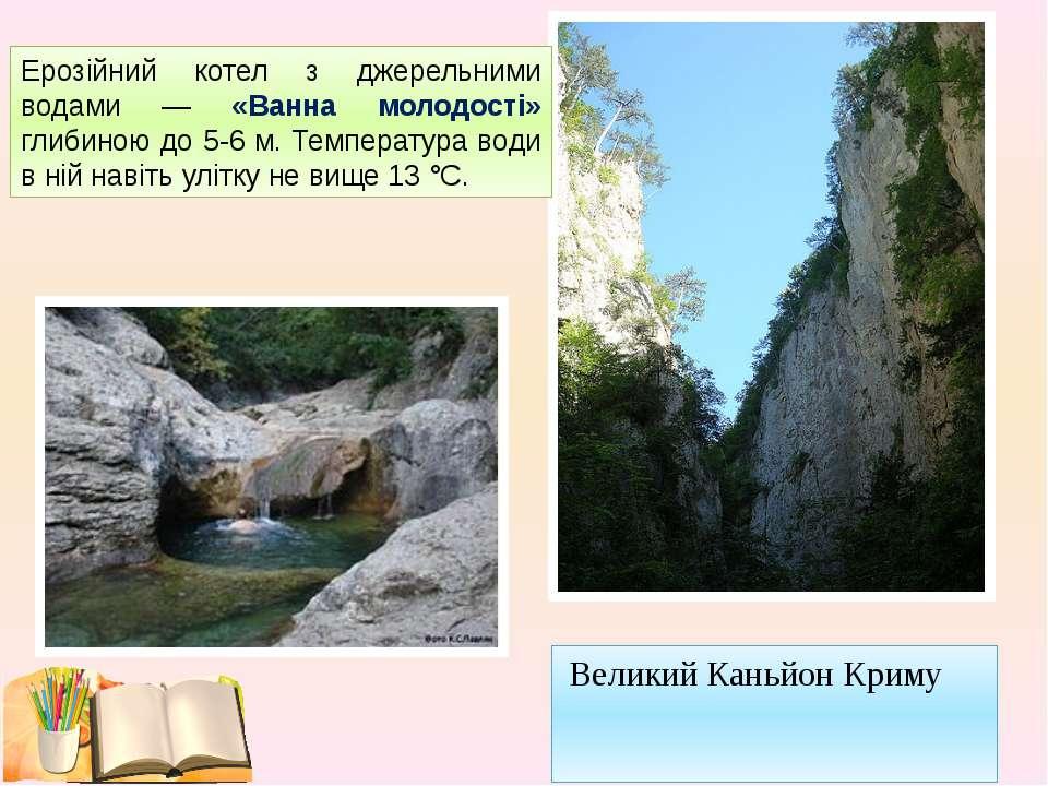 Великий Каньйон Криму Ерозійний котел з джерельними водами — «Ванна молодості...