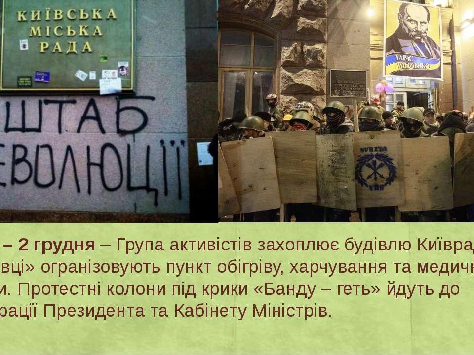 День 12 – 2 грудня– Група активістів захоплює будівлю Київради, де «свободів...