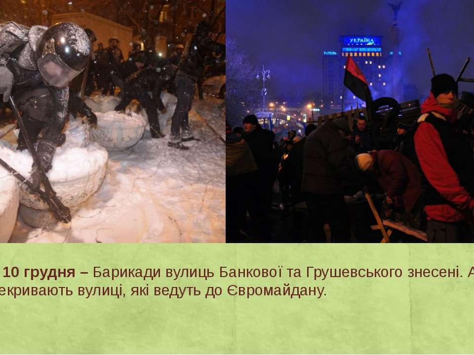 День 20 – 10 грудня –Барикади вулиць Банкової та Грушевського знесені. Автоб...