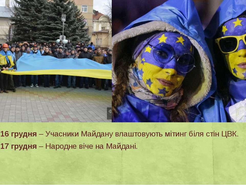 День 26 – 16 грудня– Учасники Майдану влаштовують мітинг біля стін ЦВК. День...