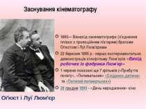 Заснування кінематографу 1895— Винахід синематографа (з'єднання плівки з прое...