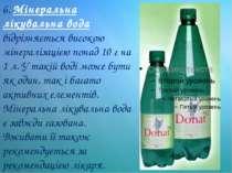 6. Мінеральна лікувальна вода відрізняється високою мінералізацією понад 10 г...