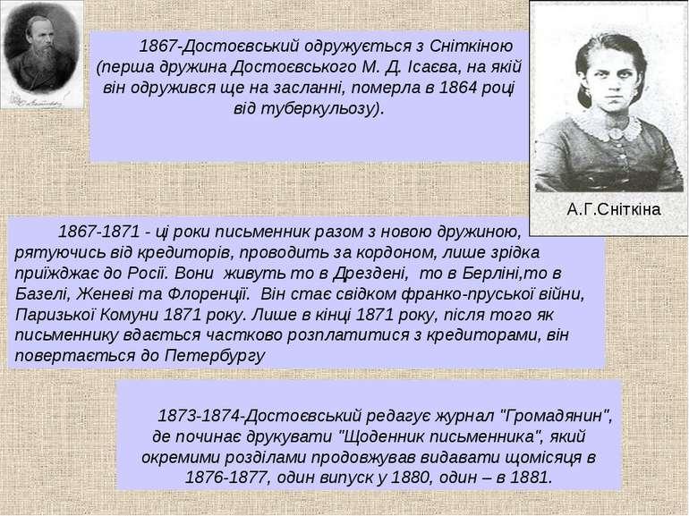 1867-Достоєвський одружується з Сніткіною (перша дружина Достоєвського М. Д. ...