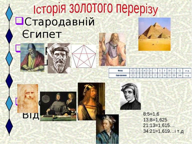 Стародавній Єгипет Стародавня Греція Епоха Відродження XIX століття 8:5=1,6 1...