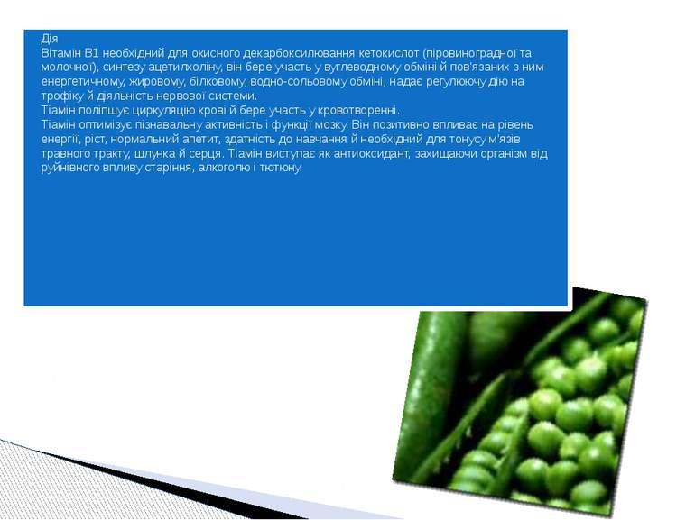 Дія Вітамін B1 необхідний для окисного декарбоксилювання кетокислот (піровино...