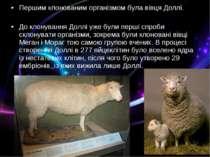 Першим клонованим організмом була вівця Доллі. До клонування Доллі уже були п...