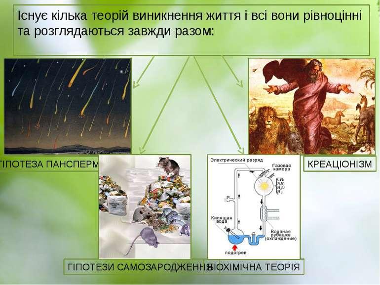 Існує кілька теорій виникнення життя і всі вони рівноцінні та розглядаються з...
