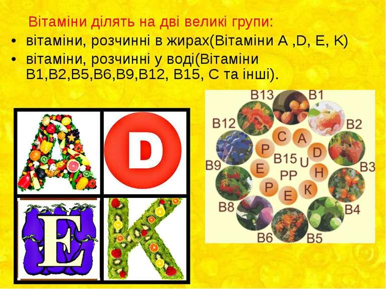 Вітаміни ділять на дві великі групи: вітаміни, розчинні в жирах(Вітаміни А ,D...