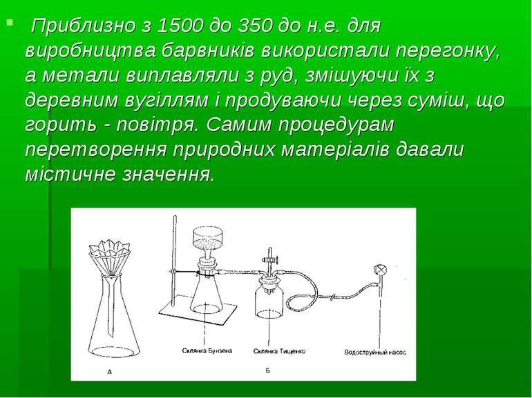 Приблизно з 1500 до 350 до н.е. для виробництва барвників використали перегон...