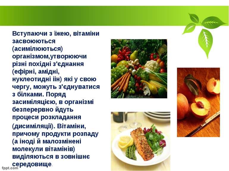 Вступаючи з їжею, вітаміни засвоюються (асимілюються) організмом,утворюючи рі...
