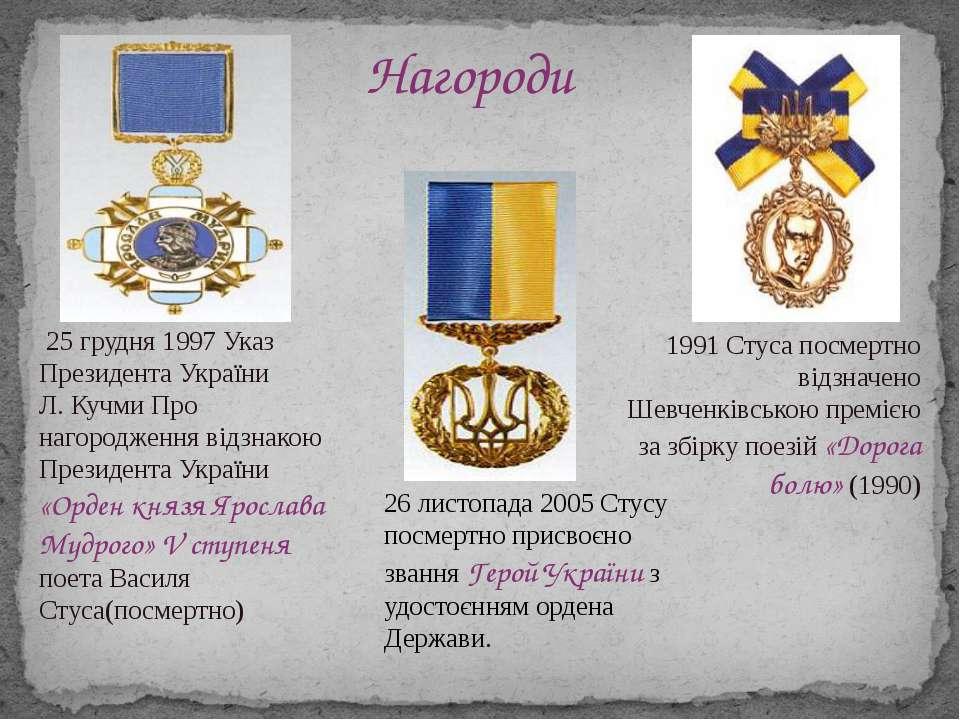 25 грудня 1997Указ Президента України Л. Кучми Про нагородження відзнакою П...