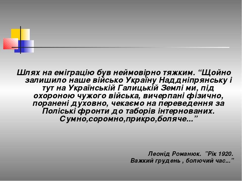 """Шлях на еміграцію був неймовірно тяжким. """"Щойно залишило наше військо Україну..."""