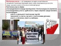 Політична участь— дії громадянина, що мають на меті вплинути на прийняття і ...