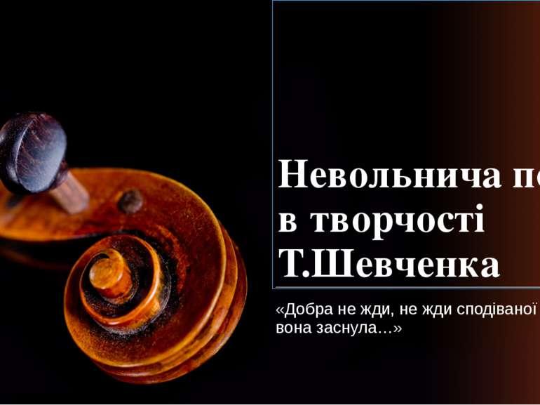 Невольнича поезія в творчості Т.Шевченка «Добра не жди, не жди сподіваної дол...
