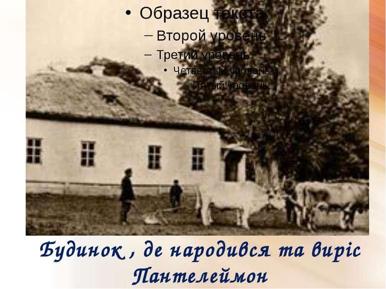 Будинок , де народився та виріс Пантелеймон