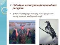Надмірна експлуатація природних ресурсів У вересні 1914 року в зоопарку міста...