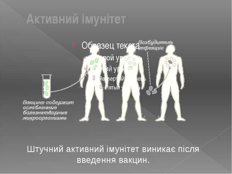 Штучний активний імунітет виникає після введення вакцин. Активний імунітет