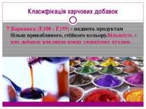 Класифікація харчових добавок Барвники (Е100 - Е199) - надають продуктам біль...