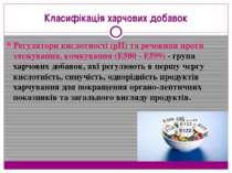 Класифікація харчових добавок Регулятори кислотності (pH) та речовини проти з...