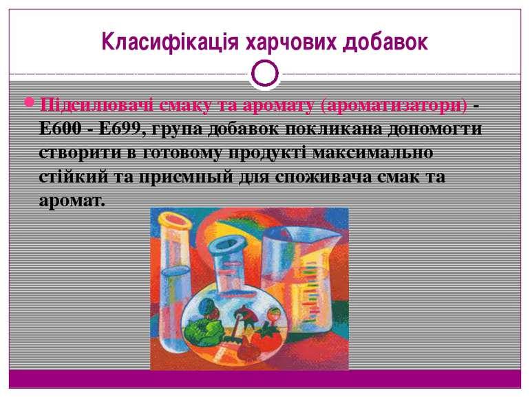 Класифікація харчових добавок Підсилювачі смаку та аромату (ароматизатори) - ...