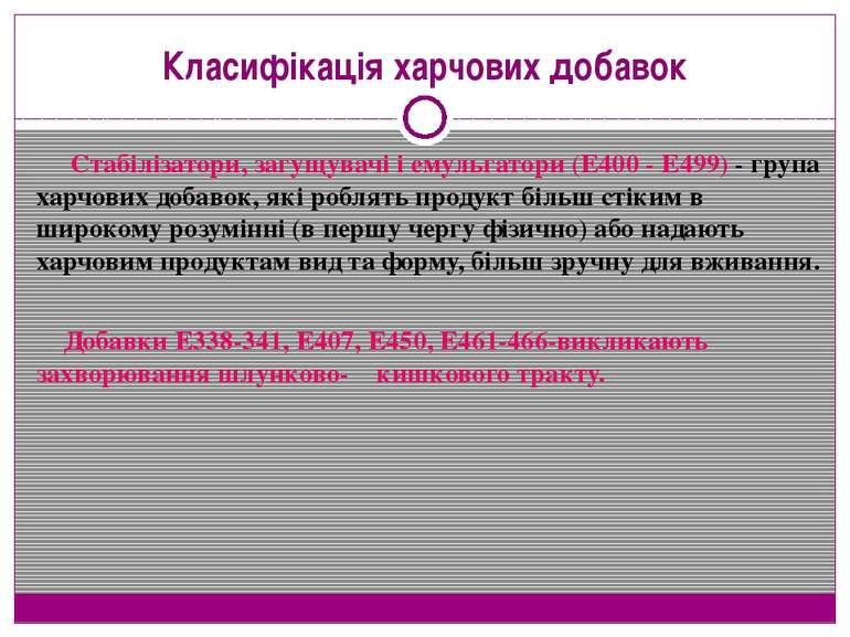 Класифікація харчових добавок Стабілізатори, загущувачі і емульгатори (Е400 -...
