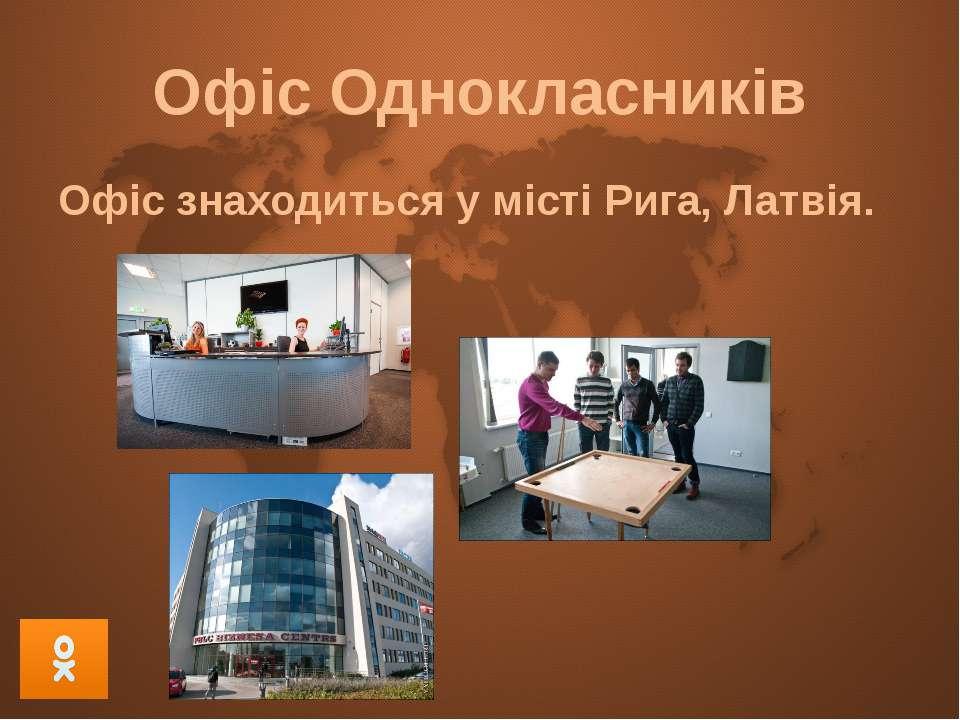 Офіс Однокласників Офіс знаходиться у місті Рига, Латвія.