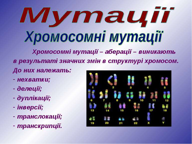 Хромосомні мутації – аберації – виникають в результаті значних змін в структу...