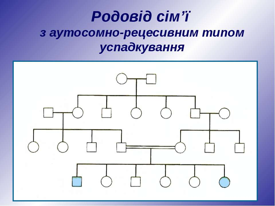 Родовід сім'ї з аутосомно-рецесивним типом успадкування
