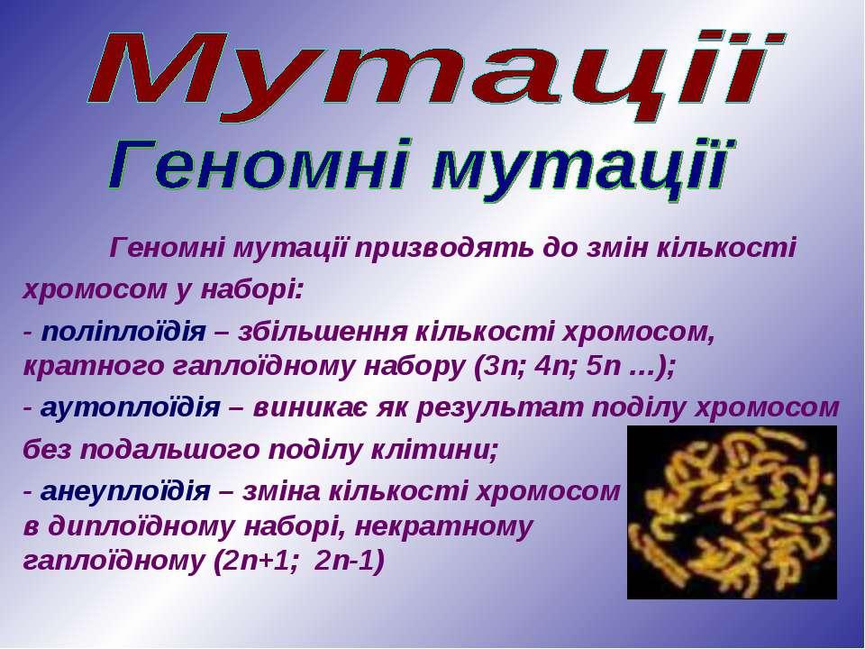 Геномні мутації призводять до змін кількості хромосом у наборі: - поліплоїдія...