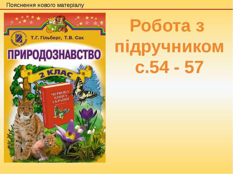Пояснення нового матеріалу Робота з підручником с.54 - 57