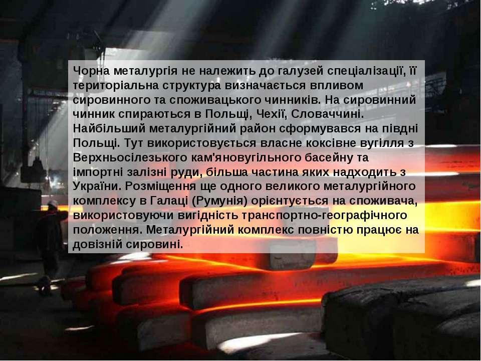 Чорна металургія не належить до галузей спеціалізації, її територіальна струк...