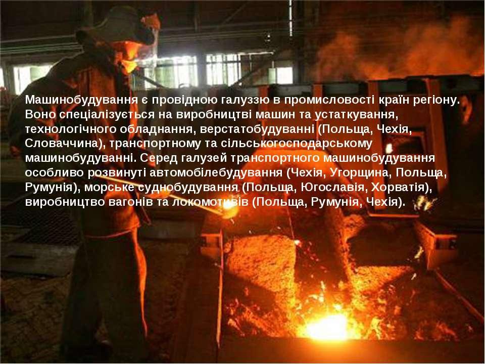 Машинобудування є провідною галуззю в промисловості країн регіону. Воно спеці...